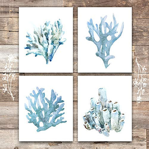 Beach Wall Decor Art Prints (Set of 4) - Unframed - 8x10s | Coral