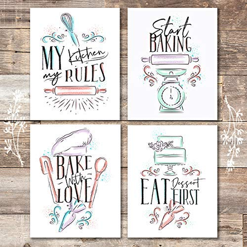 Kitchen Quotes Baking Wall Print (Set of 4) - Unframed - 8x10s - Dream Big Printables