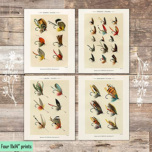 Vintage Fly Fishing Art Prints (Set of 4) - Unframed - 11x14s - Dream Big Printables