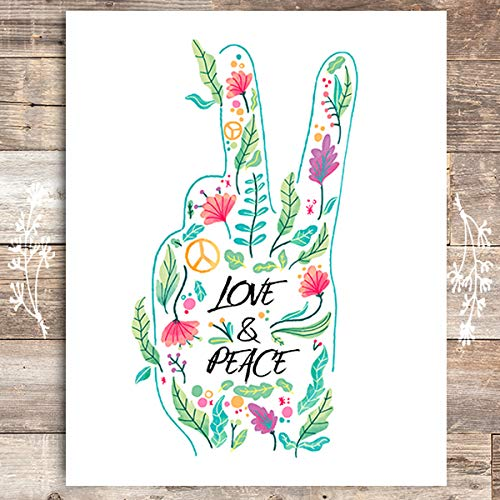 Love and Peace Floral Hand Art Print - Unframed - 8x10 - Dream Big Printables