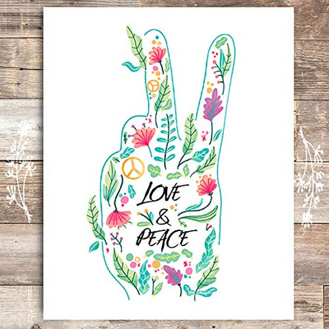 Love and Peace Floral Hand Art Print - Unframed - 8x10