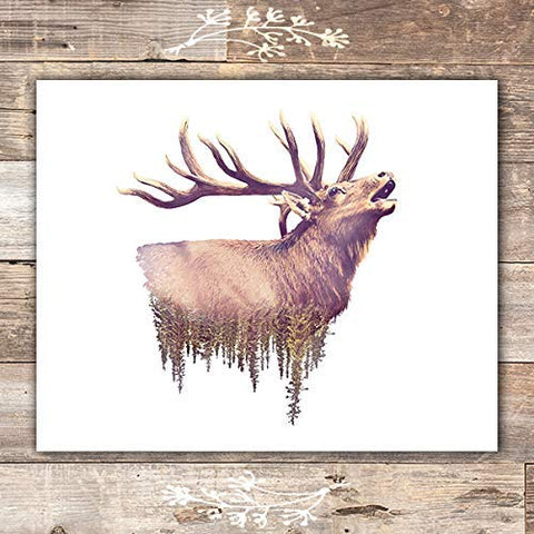 Double Exposure Elk Wall Art Print - Unframed - 8x10 - Dream Big Printables
