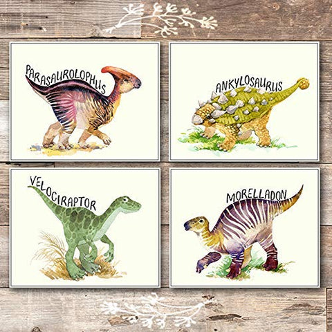 Dinosaur Wall Art Prints Bedroom Decor (Set of 4) - Unframed - 8x10s