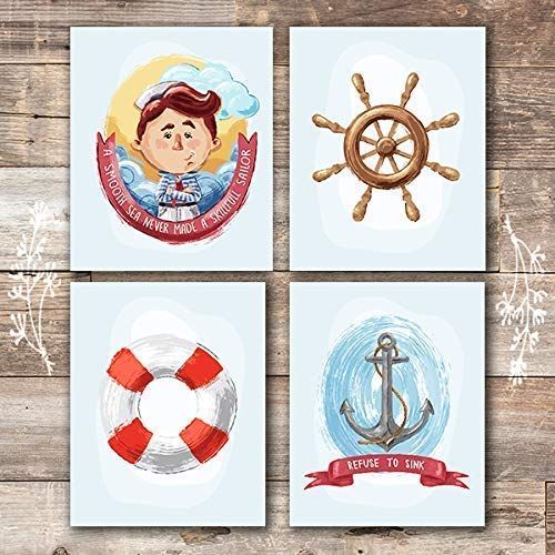 Nautical Nursery Decor for Boys (Set of 4) - Unframed - 8x10s - Dream Big Printables
