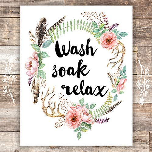 Wash Soak Relax Floral Wreath Art Print - Unframed - 8x10 | Bathroom Decor - Dream Big Printables