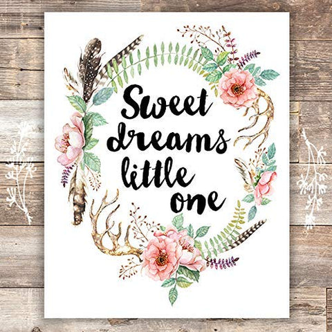 Sweet Dreams Little One Floral Wreath Art Print - Unframed - 8x10 | Nursery Decor - Dream Big Printables