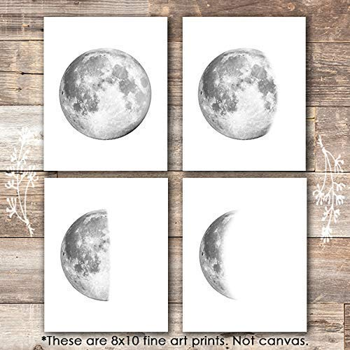 Moon Phases Wall Art Prints (Set of 4) - Unframed - 8x10s - Dream Big Printables
