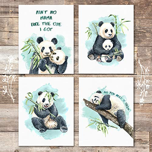 Pandas Art Prints (Set of 4) - Unframed - 8x10s - Dream Big Printables
