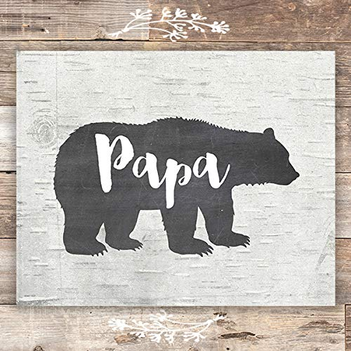 Papa Bear Rustic Art Print - Unframed - 8x10 - Dream Big Printables