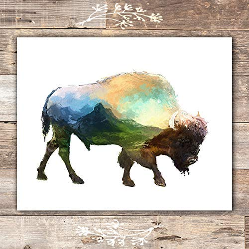 Double Exposure Bison Art Print - Unframed - 8x10 | Buffalo Wall Decor - Dream Big Printables
