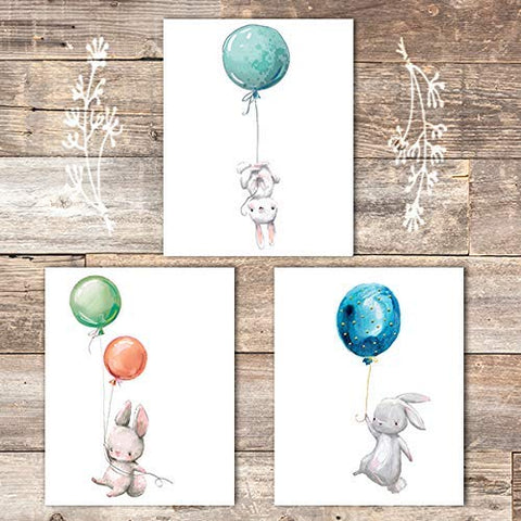 Nursery Wall Art Prints (Set of 3) - Unframed - 8x10 | Bunny Rabbits with Balloons - Dream Big Printables