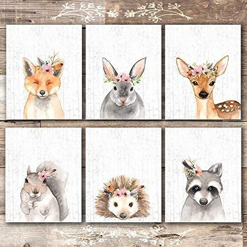 Woodland Animals Nursery Wall Art Prints (Set of 6) - Unframed - 8x10s - Dream Big Printables