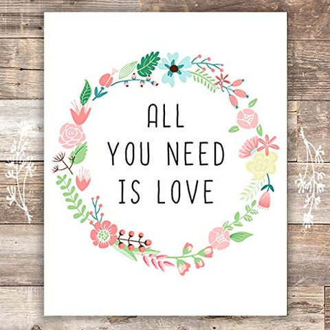 All You Need Is Love Floral Wreath Art Print - Unframed - 8x10