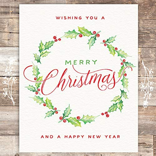 Wishing You A Merry Christmas And A Happy New Year Art Print - Unframed - 8x10 - Dream Big Printables