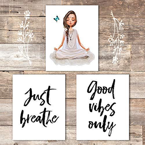 Just Breathe Yoga Wall Art Prints (Set of 3) - Unframed - 8x10 | Good Vibes Only - Dream Big Printables