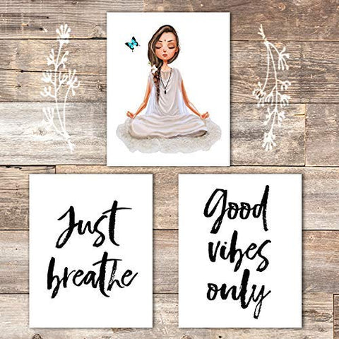 Just Breathe Yoga Wall Art Prints (Set of 3) - Unframed - 8x10 | Good Vibes Only