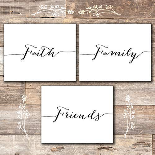 Faith Family Friends Wall Art Prints (Set of 3) - Unframed - 8x10 - Dream Big Printables