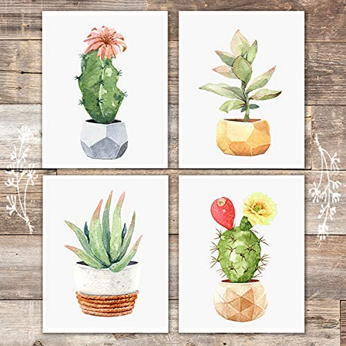 Potted Geometric Cactuses Art Prints (Set of 4) - Unframed - 8x10s - Dream Big Printables