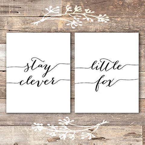 Stay Clever Little Fox Art Prints (Set of 2) - Unframed - 8x10