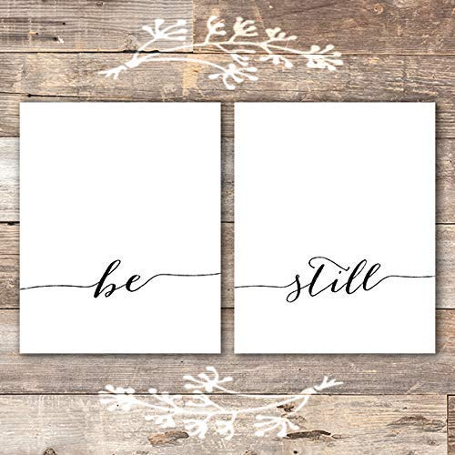 Be Still Wall Art Prints (Set of 2) - Unframed - 8x10 | Inspirational Wall Art - Dream Big Printables