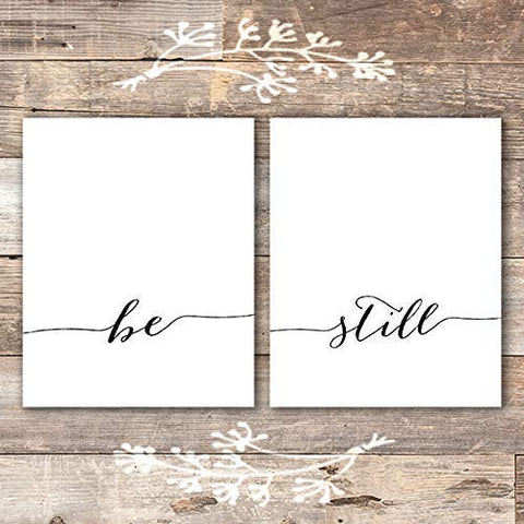 Be Still Wall Art Prints (Set of 2) - Unframed - 8x10 | Inspirational Wall Art