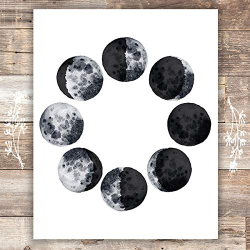 Moon Phases Wall Art Print - Unframed - 8x10 - Dream Big Printables