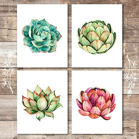 Succulent Wall Art Prints (Set of 4) - Unframed - 8x10s | Botanical Prints Wall Art
