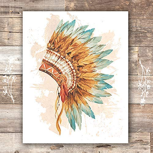 Native American Headdress Decor Wall Art Print - Unframed - 8x10 - Dream Big Printables