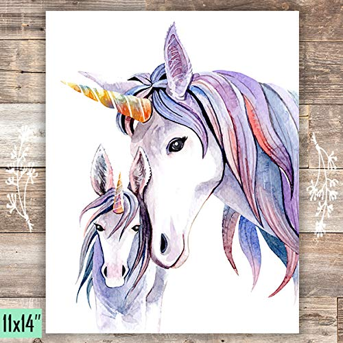 Unicorn Floral Art Print - Unframed - 11x14 - Dream Big Printables