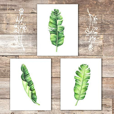 Tropical Leaves Art Prints (Set of 3) - Unframed - 8x10s | Botanical Prints Wall Art