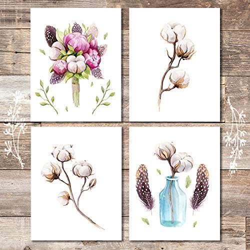 Rustic Farmhouse Decor Art Prints (Set of 4) - Unframed - 8x10s | Cotton Wall Decor - Dream Big Printables