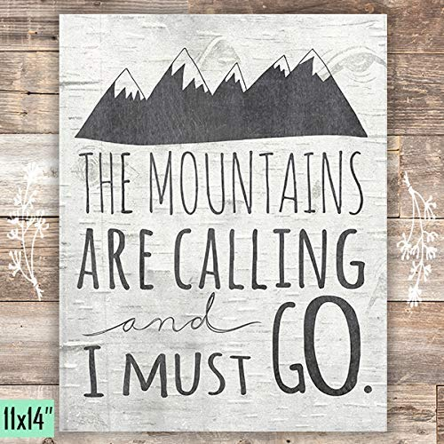 The Mountains Are Calling And I Must Go - Birch Chalkboard - Art Print - Unframed - 11x14 - Dream Big Printables