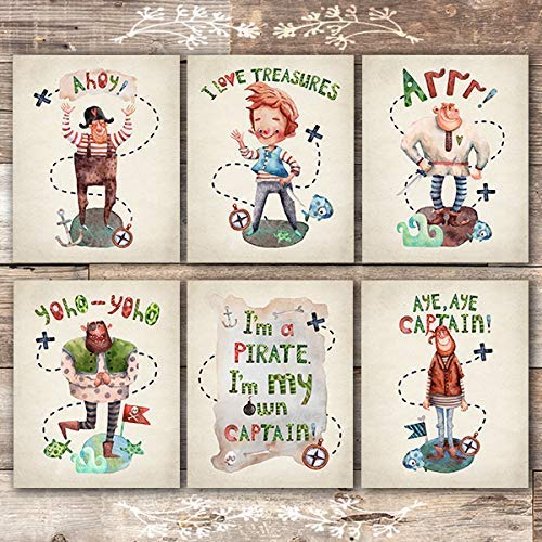 Pirate Art Prints (Set of 6) - Unframed - 8x10s - Dream Big Printables