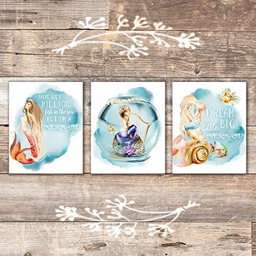 Mermaid Quotes Art Prints (Set of 3) - Unframed - 8x10s - Dream Big Printables