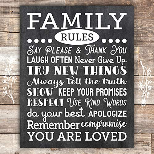 Family Rules Chalkboard Art Print - Unframed - 8x10 - Dream Big Printables