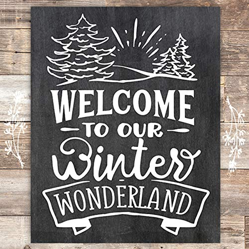 Welcome To Our Winter Wonderland Chalkboard Christmas Art Print - Unframed - 8x10 - Dream Big Printables