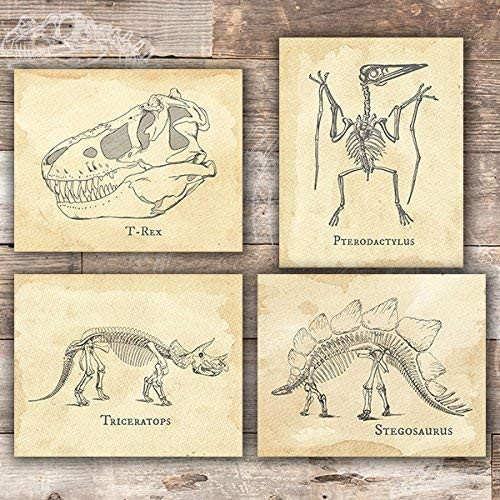 Dinosaur Bedroom Wall Decor Art Prints (Set of 4) - Unframed - 8x10s - Dream Big Printables