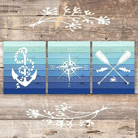 Nautical Art Prints (Set of 3) - Unframed - 8x10s
