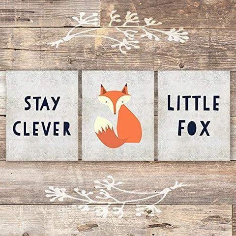 Stay Clever Little Fox Art Prints (Set of 3) - Unframed - 8x10s