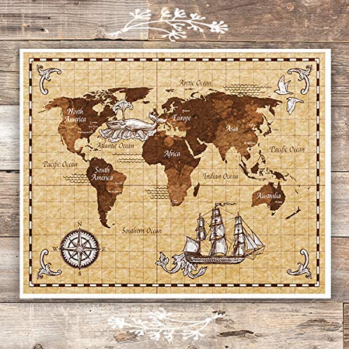 Antique World Map Wall Art Print - Unframed - 8x10 - Dream Big Printables