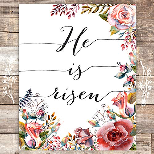 He Is Risen Floral Art Print - Unframed - 8x10 - Dream Big Printables