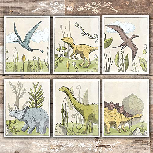 Dinosaurs In Prehistoric Landscapes Art Prints (Set of 6) - Unframed - 8x10s - Dream Big Printables