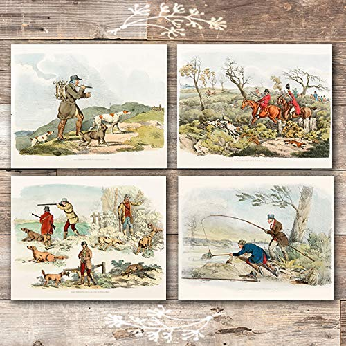 Vintage Hunting Wall Art Prints (Set of 4) - Unframed - 8x10s | Hunting Decor - Dream Big Printables