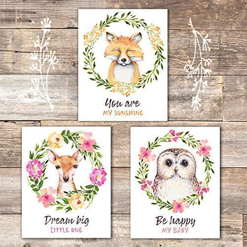 Woodland Animals Nursery Wreath Wall Art Prints (Set of 3) - Unframed - 8x10s - Dream Big Printables