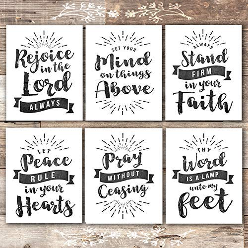 Scripture Wall Art Christian Prints (Set of 6) - Unframed - 8x10s | Chalkboard Bible Verses - Dream Big Printables
