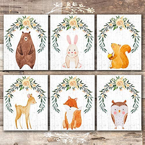 Woodland Animals Nursery Decor Wall Art Prints (Set of 6) - Unframed - 8x10s