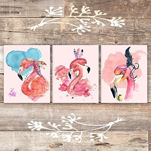 Flamingos Art Prints (Set of 3) - Unframed - 8x10s - Dream Big Printables