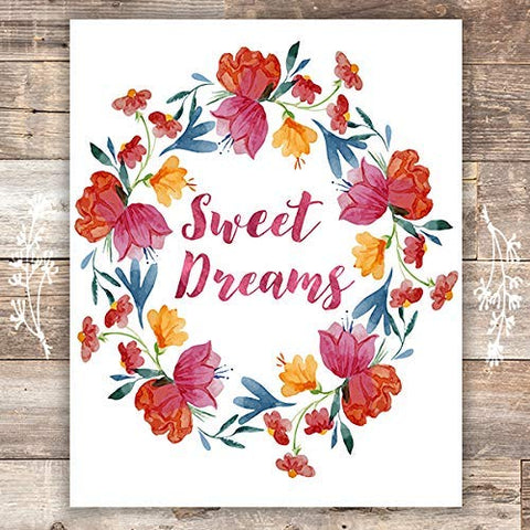 Sweet Dreams Floral Wreath Art Print - Unframed - 8x10