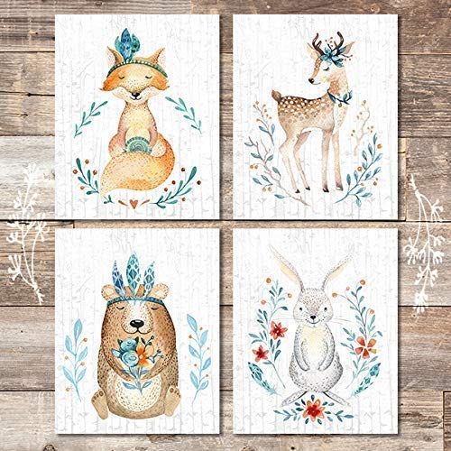Woodland Animals Nursery Wall Art Prints (Set of 4) - Unframed - 8x10s - Dream Big Printables