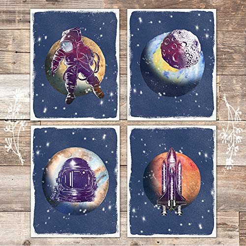 Space Travel Astronaut Art Prints (Set of 4) - Unframed - 8x10s - Dream Big Printables